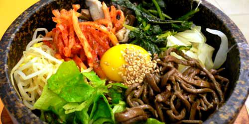 Bibimbap - beef, rice and vegetables salad
