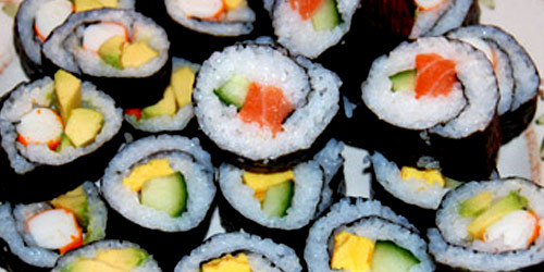 Makizushi - maki - rolled with vegetables and raw fish