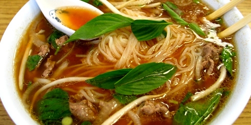 Pho – beef soup and rice noodles
